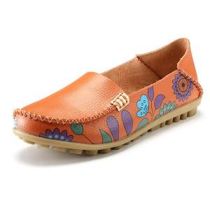 SOCOFY Flower Print Soft Comfortable Flat Leather Lazy Slippers Boat Loafers Shoes - intl