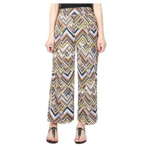 Summer Plus Size Print Chiffon Side Split Boho Wide Leg Pants Women Elastic High Waist Casual Loose Palazzo Pants Women Trousers - intl