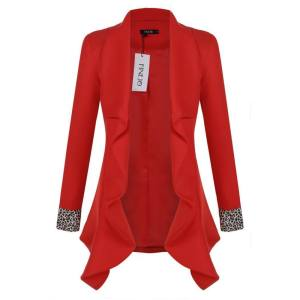 Toprank FINEJO Women Ladies Fashion Lapel Front Open Asymmetric Hem Pure Color Slim OL Casual Outwear Blazer ( Red ) - intl