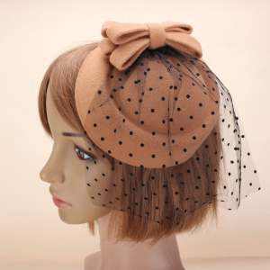 Hình thu nhỏ sản phẩm Women Bowknot Fascinator Hairclip Beret Hair Pillbox Hat Veil Cocktail Party Kahaki - intl