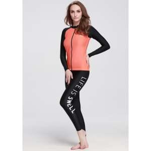 6fd6cd9305 Women Diving Snorkeling Wetsuit Swim Shirts Tops Long Sleeve Rash Guard  Surf Shirt Swimwear – Orange - intl