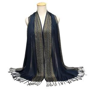 Hình ảnh Women Shade Long Warm Tassel Scarf Stole Pashmina Shawl Wrap Soft Cotton Scarves #Navy blue - intl