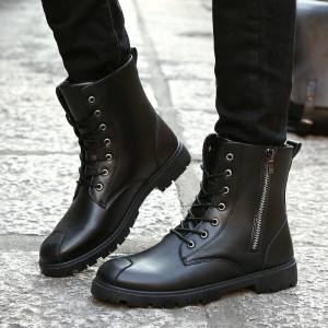 Hình thu nhỏ sản phẩm ZUUCEE Men Casual Trends Boots Mid-calf Warm MArtin Shoes(black)【Free Shipping】