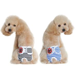 Hình ảnh 2pcs Washable Female Pet Puppy Dog Shorts Sanitary Pants Diaper Underwear with Hook And Loop Fastener Black + Blue Size M - intl