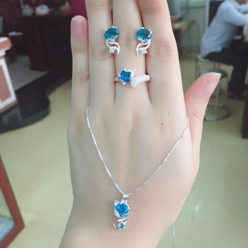 Bộ trang sức hồ ly bạc 925,bộ trang sức hồ ly đá xanh nước biển ,bộ trang sức hồ ly mệnh mộc - mệnh thủy trang sức Bạc QTJ