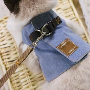 Hình ảnh Cat Harnesses Kitten Traction Elegant Bohemia Style Vest+130cm Leash Set Lovely jeans bow-knot Pattern Goods for cat Puppy,Blue - intl