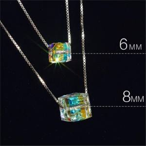Hình thu nhỏ sản phẩm Charm Women Magic Cube Crystal Chain Necklace Pendant Gift Fine Jewelry 6mm - intl