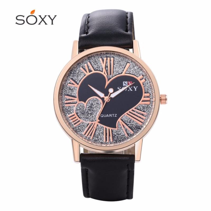 Nơi bán Đồng hồ nữ dây da tổng hợp Soxy PKHRSY003-1 (đen mặt đen)