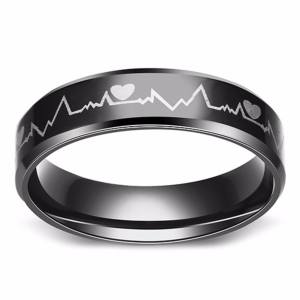 Fancyqube New Fashion Lovers Heartbeat ECG Ring Couple Rings Titanium Steel Ring Engagement Wedding Ring H06 - intl