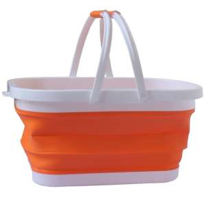Hình ảnh Shopping Market Picnic Fruit Veggie Folding Basket (Orange) - intl