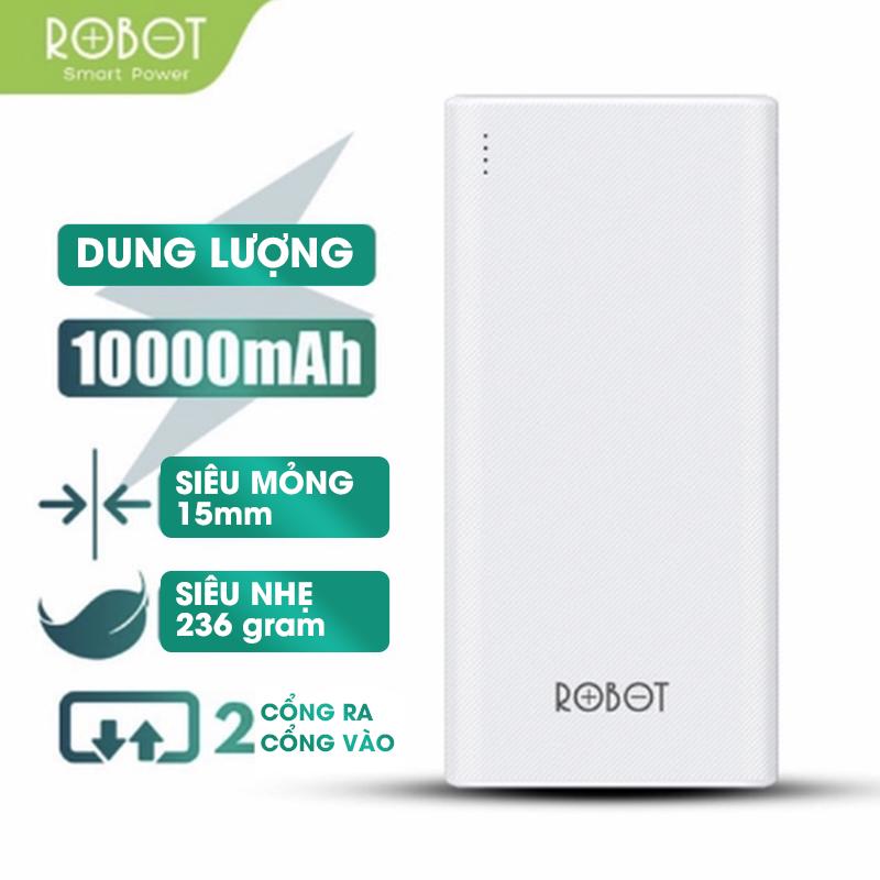 [BH 12 tháng 1 đổi 1] Sạc dự phòng ROBOT RT170 10000mAh thiết kế nhỏ gọn 2 cổng USB và 2 cổng Micro Type-C tặng dây sạc Micro - Hàng chính hãng