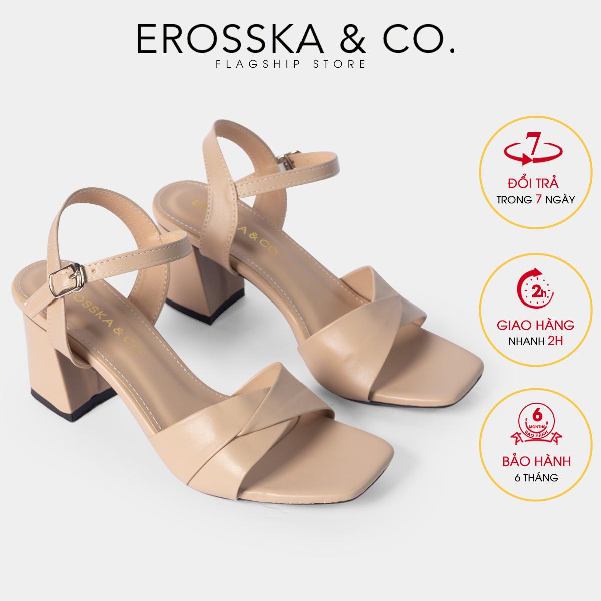 Giày sandal cao gót Erosska thời trang mũi vuông quai ngang bắt chéo cao 7cm màu trắng – EB020