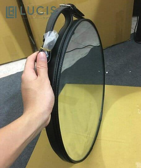 Gương tròn treo tường viền da LUCIS đường kính 40cm – Gương dây da trang trí phòng ngủ phòng khách – Gương để bàn trang điểm