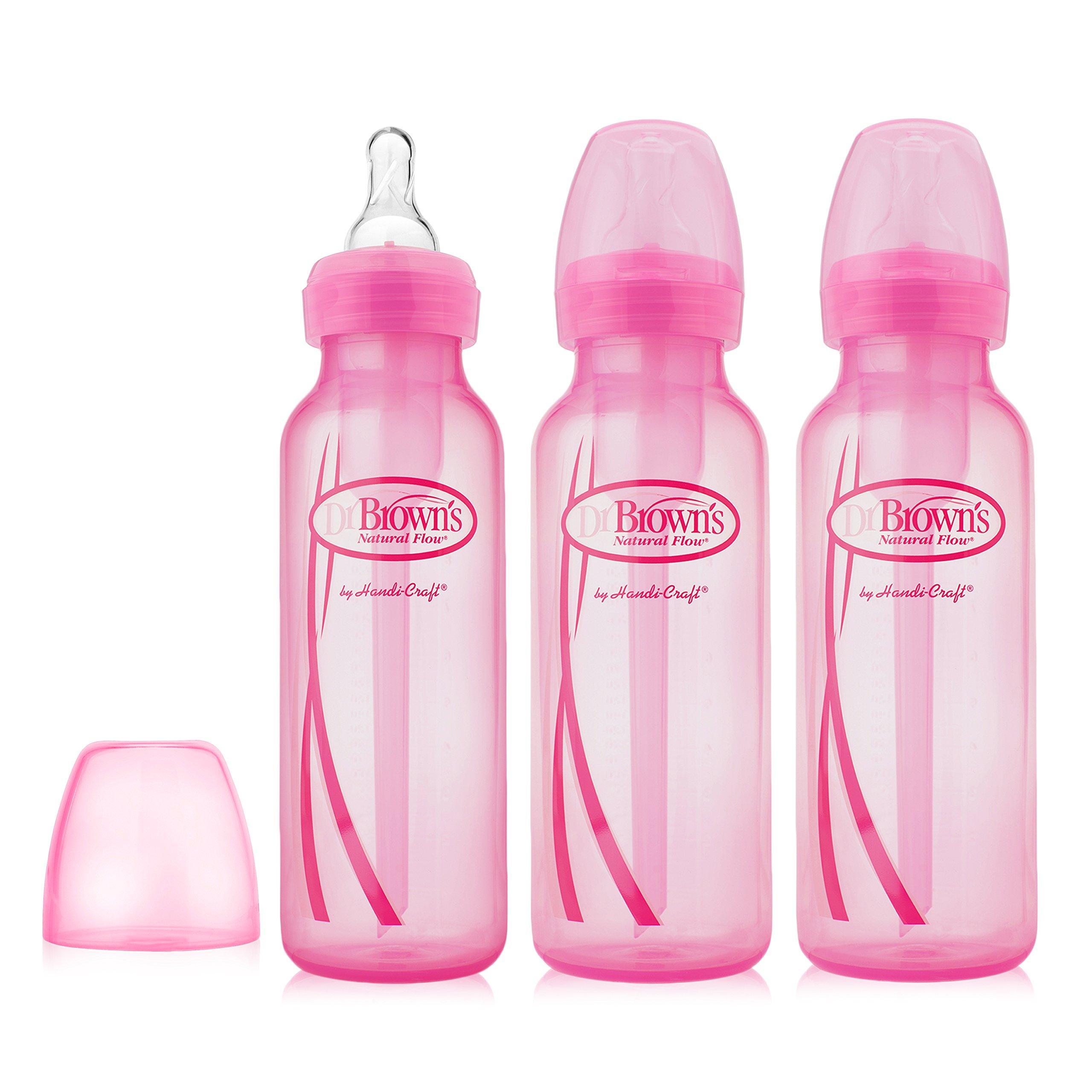 Bình sữa Dr Brown Option cổ thường 250ml hồng tách set