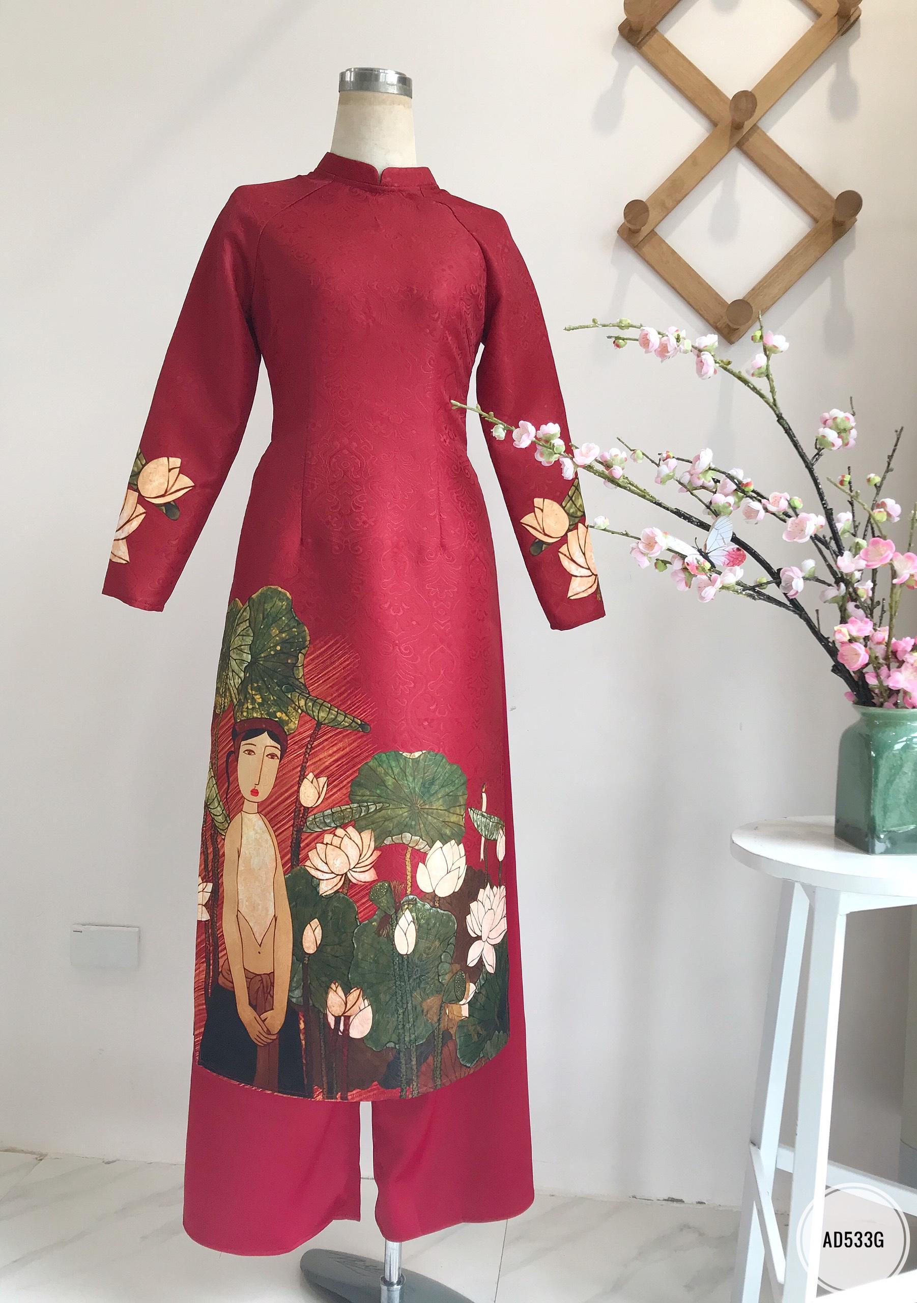 Sét áo dài in hình cô gái và hoa sen vải gấm
