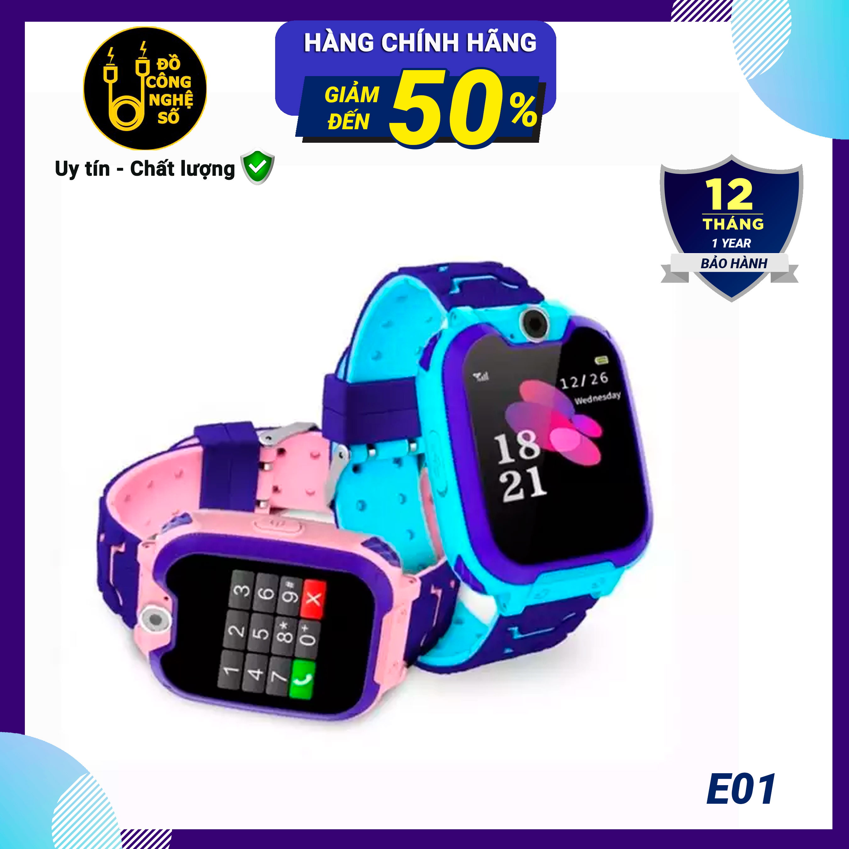 Đồng hồ thông minh định vị trẻ em E01 - chống nước IP67 gọi SOS theo dõi vận động