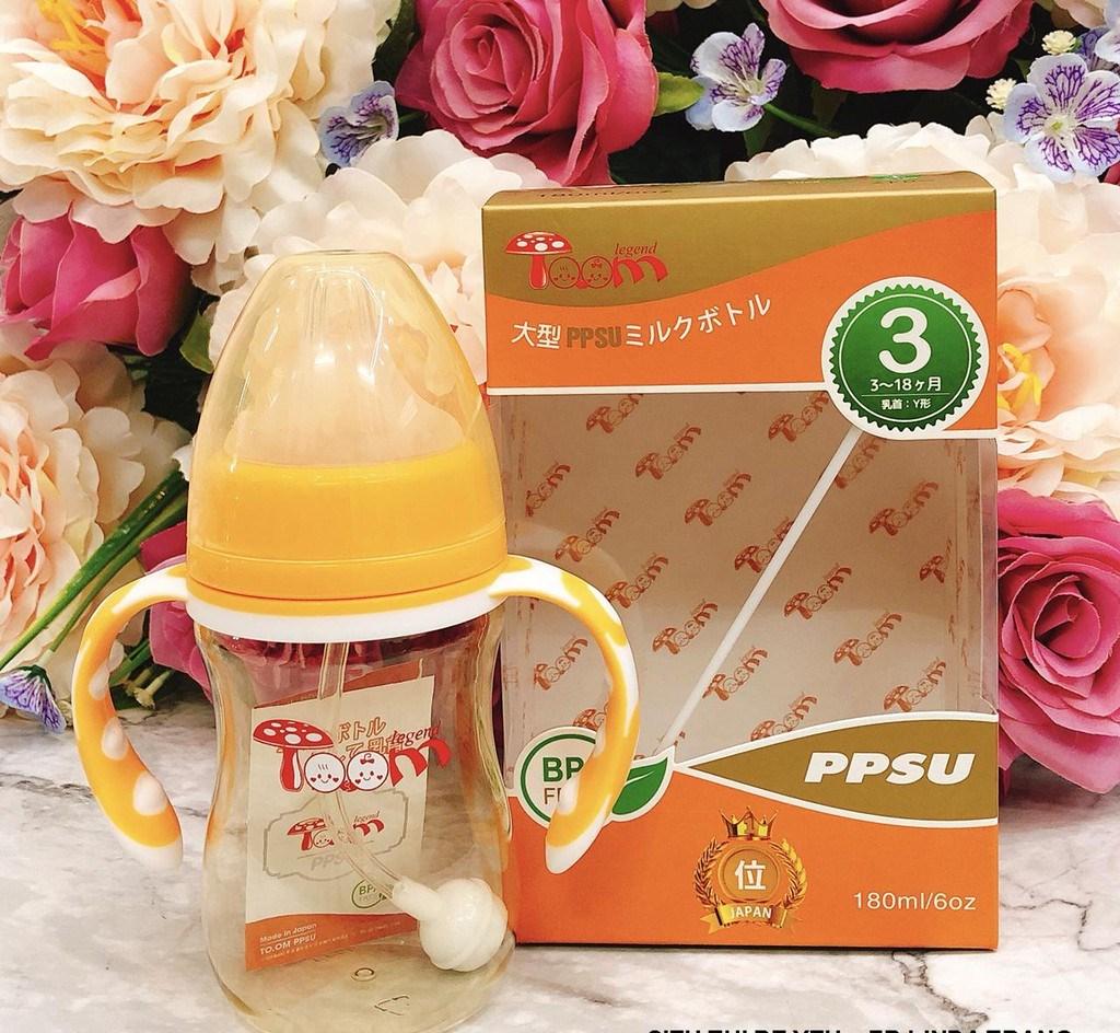 Bình Sữa TOOM PPSU 180ml, 260ml cổ rộng có tay cầm quai cầm cho bé (tăng 1 núm)