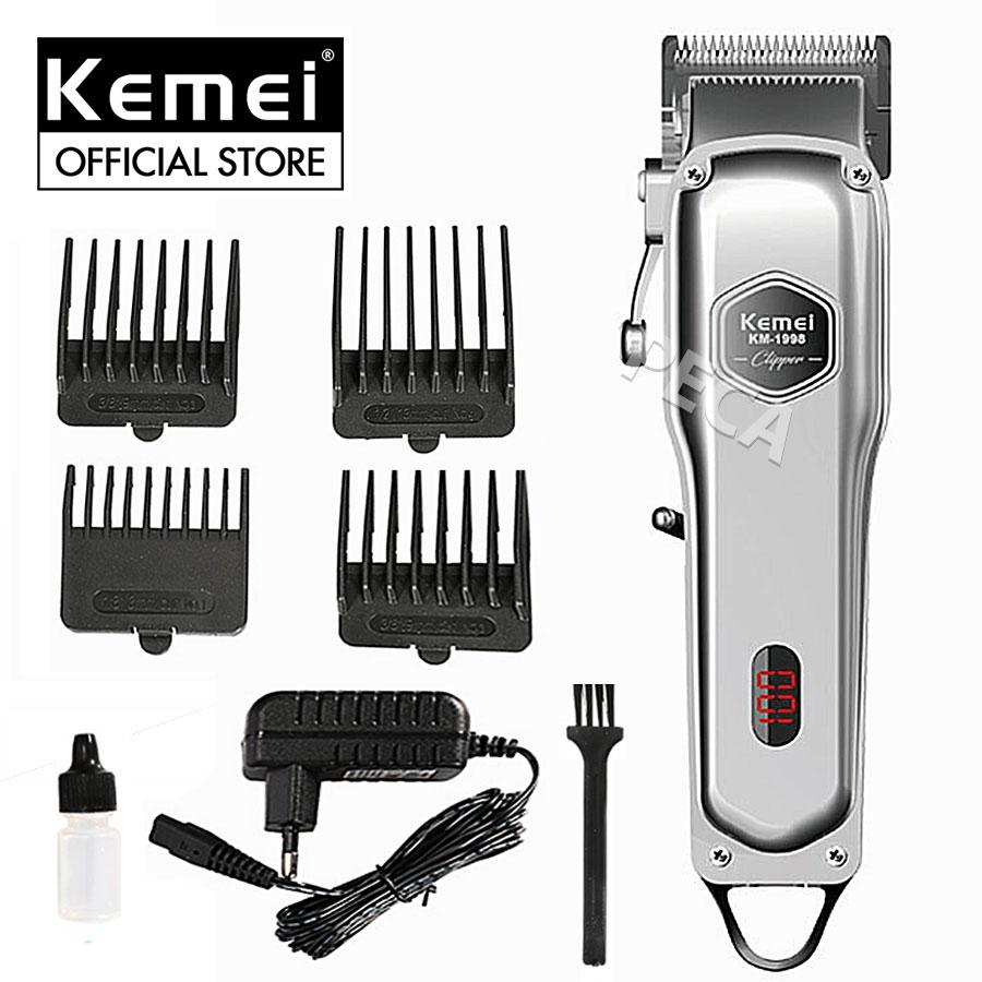 Tông đơ cắt tóc không dây chuyên nghiệp chất liệu hợp kim nhôm hàng không cao cấp Kemei KM-1997 có thể cắm điện sử dụng trực tiếp pin lithium 2000mAh chất lượng - hãng phân phối chính thức