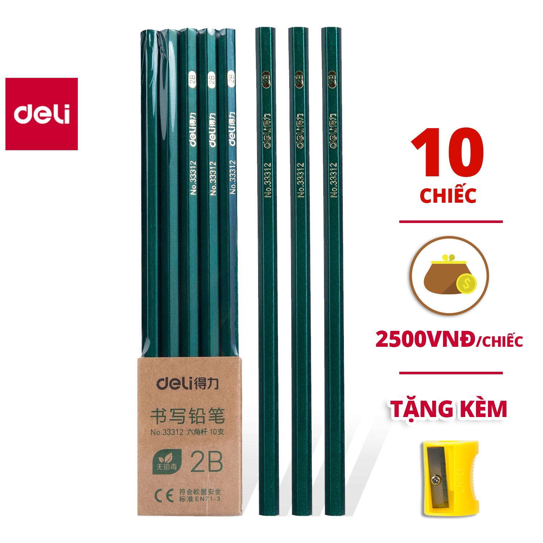 [Tặng gọt bút chì ]Combo 10 và 20 chiếc Bút chì lục giác Deli - loại 2B/HB - 33311 / 33312