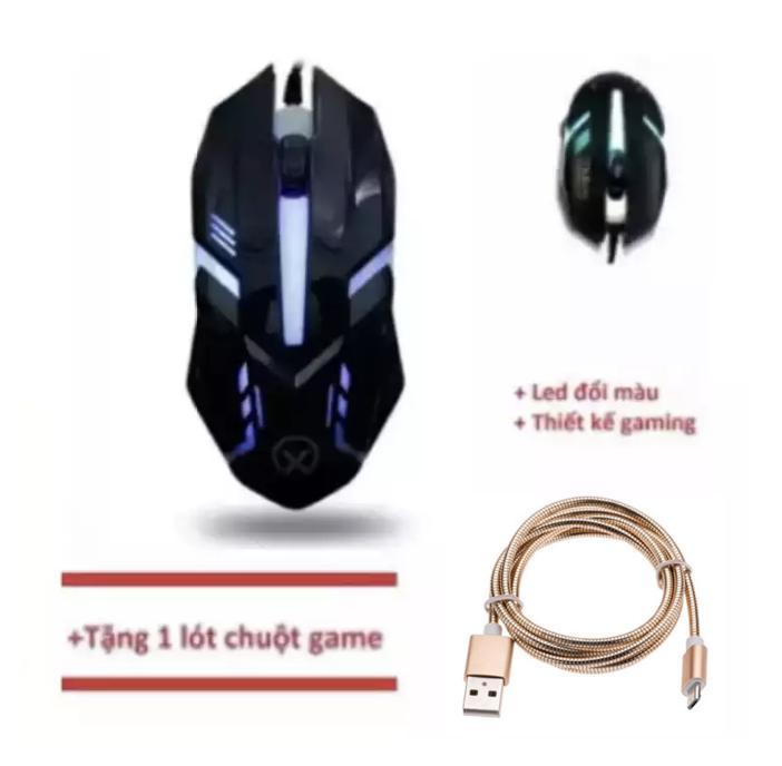 Chuột chơi game có dây Đèn Led Mouse gaming SCH-CM28 (Đen) + Tặng Dây cáp sạc sạc nhanh siêu bền bọc dù chống gập, xoắn dùng cho ĐT_Sam_Sung (Giá cam kết chỉ có tại Laptop Ancom)