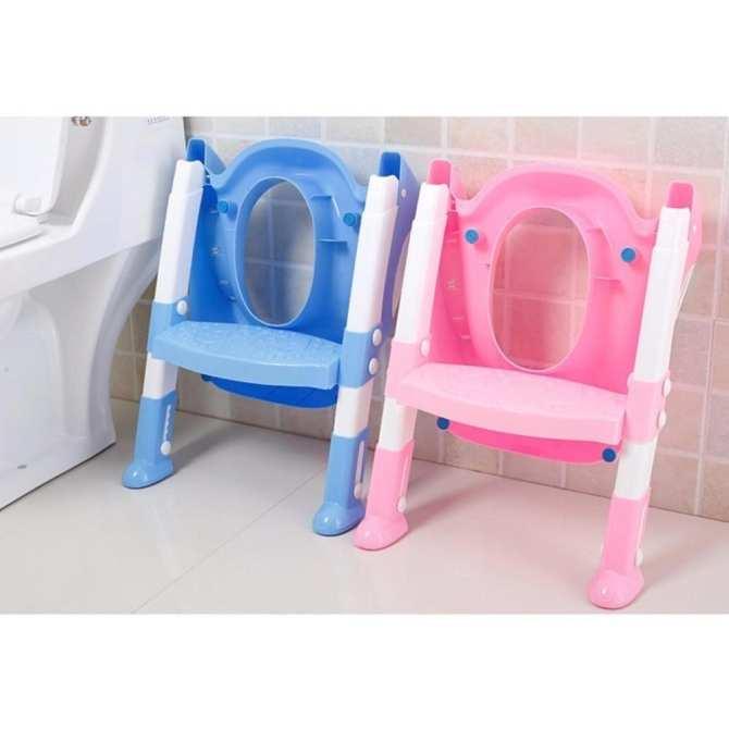 Hình ảnh Ghế ngồi toilet có thang vịn an toàn cho bé (Màu ngẫu nhiên)