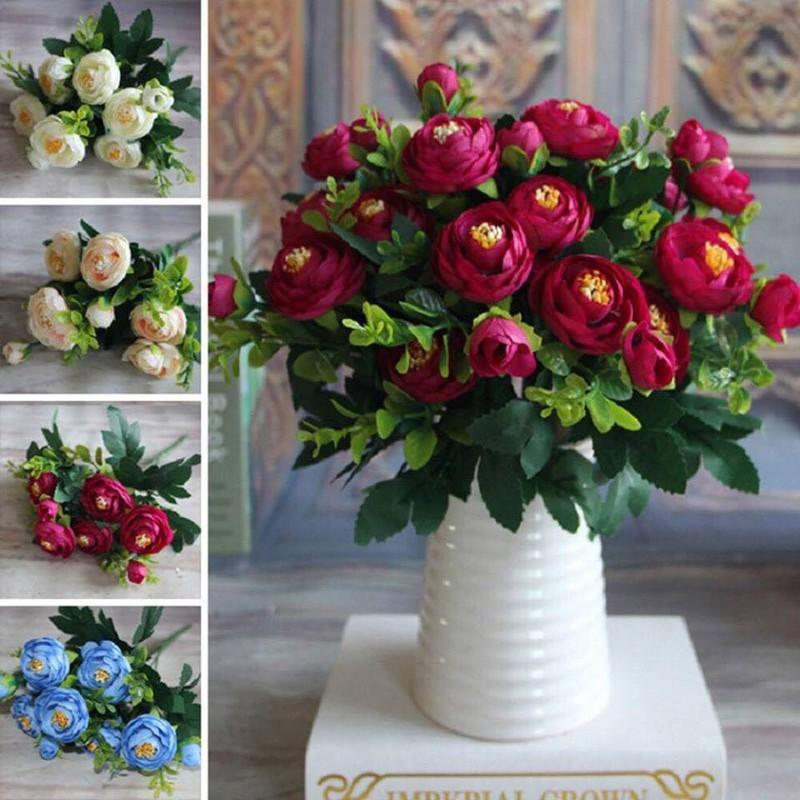 Hoa hồng lụa Piona phong cách châu Âu sang trọng, cành 6 bông nhỏ - Hoa giả cao cấp