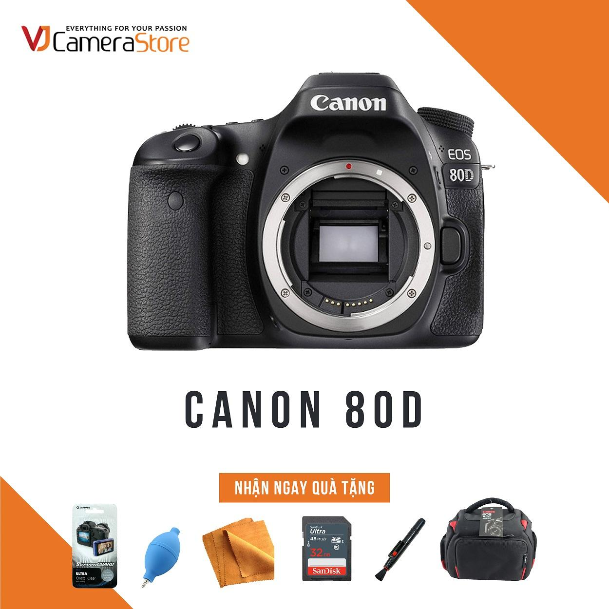 Canon Body EOS 80D - Nhập Khẩu, Tặng kèm thẻ nhớ 32gb, túi Canon Focus, bóng thổi, khăn lau, bút lau lens, dán màn hình