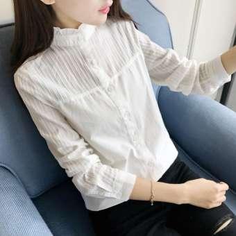 เสื้อเชิ้ตสีขาวแขนยาวหญิง 2020 ใหม่เสื้อผ้าหญิงฤดูใบไม้ผลิสไตล์เกาหลีเข้าได้หลายชุดปกตั้งสดมีระบายที่ชายอ่อนหวานเสื้อเชิ้ตเนื้อผ้าฝ้าย100%