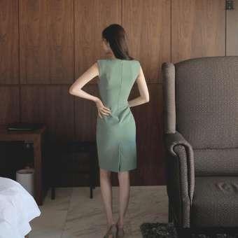 ฤดูร้อน 2019 ใหม่หญิงสไตล์เกาหลีมีมาดแฟชั่นสลิมแลดูผอมแขนกุดกระโปรงเสื้อกั๊กแนบสะโพกผ่าชุดเดรสน้ำ