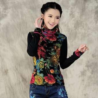สไตล์จีนลักษณะพิเศษเสื้อผ้าหญิงพิมพ์ลายแนวย้อนยุคแฟชั่นชุดสมัยราชวงศ์ถังหญิง MIMZF สลิมขนาดเล็กปกตั้งหัวเข็มขัดเสื้อยืดหญิง