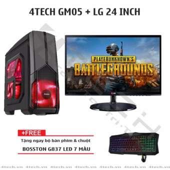 máy tính chơi game 4techgm05 cpu intel core i7, ram 8gb, hdd 500g, ssd 128gb, card màn hình gtx 1060 + màn hình lg 24inch