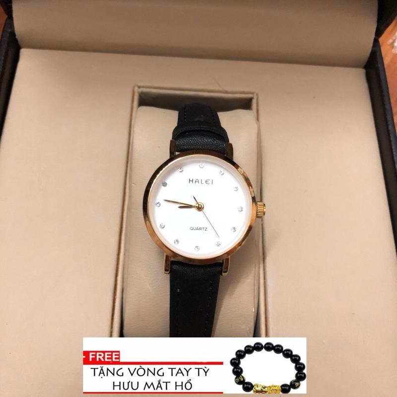 Đồng hồ nữ  Halei 542 dây da thời thượng - TẶNG 1 vòng tỳ hưu phong thủy ( dây đen mặt trắng)