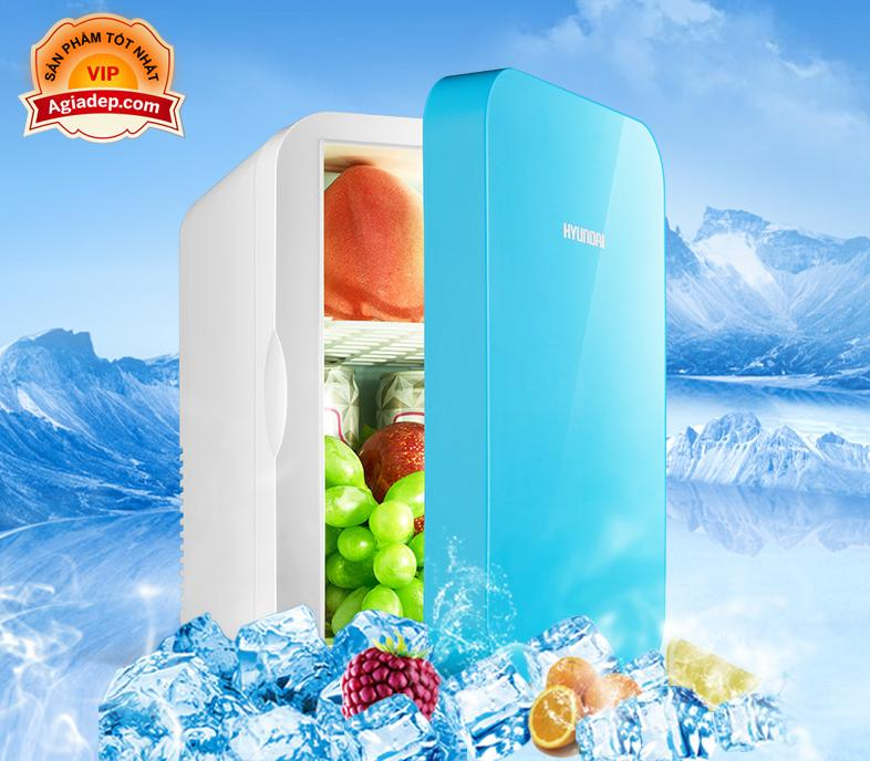 Tủ lạnh, tủ mát mini Hyundai dùng cả trong nhà, trên oto, xe hơi (6 Lít, hai chiều nóng lạnh) Cao cấp Agiadep