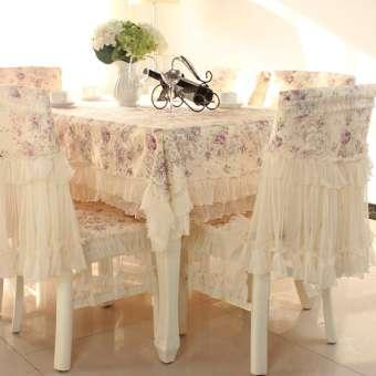 สไตล์ยุโรปผ้าคลุมโต๊ะทานข้าวชุดผ้าคลุมโต๊ะอาหารผ้าคลุมเก้าอี้เซตโต๊ะชาผ้าปูโต๊ะสี่เหลี่ยมผืนผ้า RESTONIC โต๊ะรับประทานอาหารชุดผ้าคลุมเก้าอี้ปกทั้งชายและหญิงของใช้ในครัวเรือน