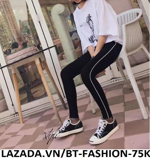 Quần Dài Nữ Thun Ôm Legging Thể Thao Thời Trang Hàn Quốc - BT Fashion (Viền-01)