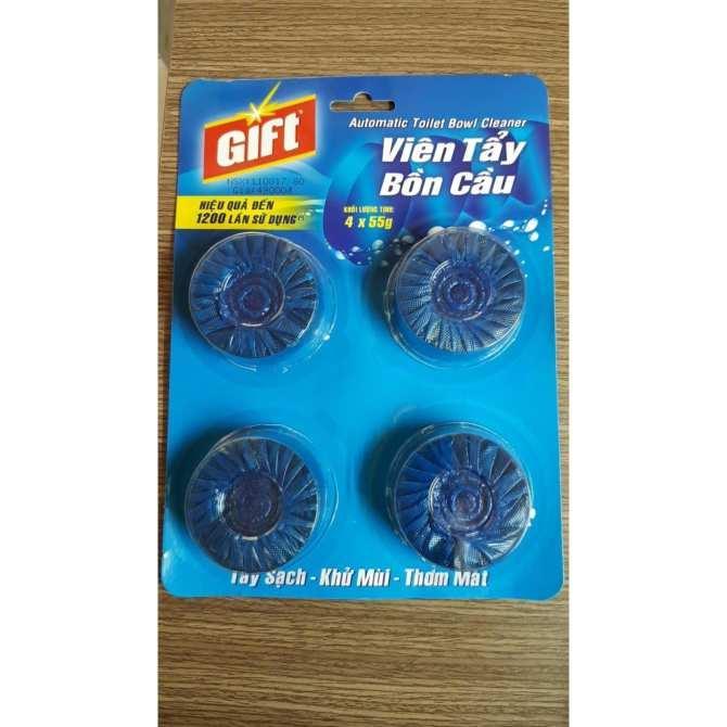 Viên tẩy bồn cầu Gift 4*55g màu xanh(vỉ 4 viên màu xanh biển) (Vỉ)