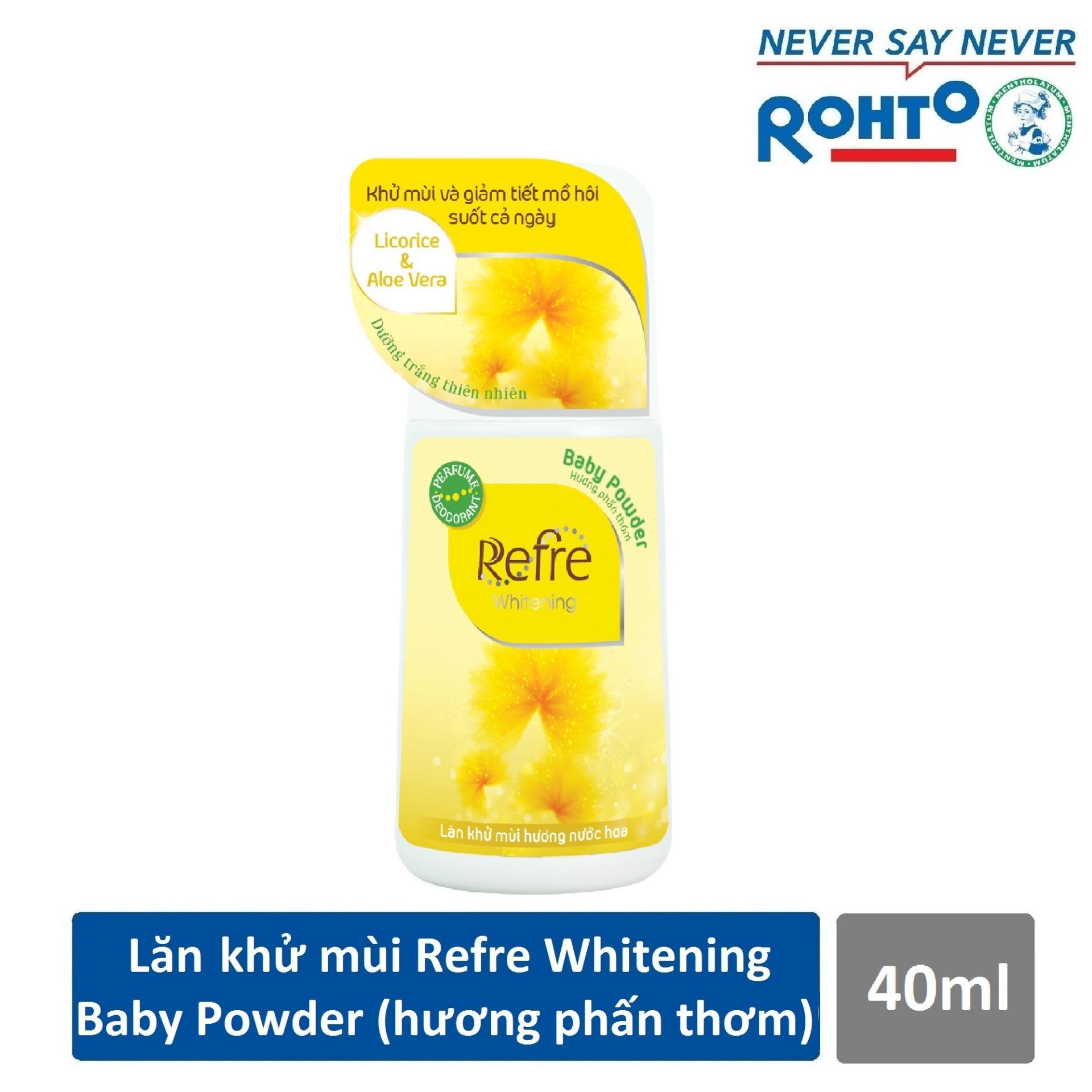 Lăn Khử Mùi Dưỡng Trắng Hương Nước Hoa Refre Whitening Baby Powder Hương Phấn Thơm (40ml)