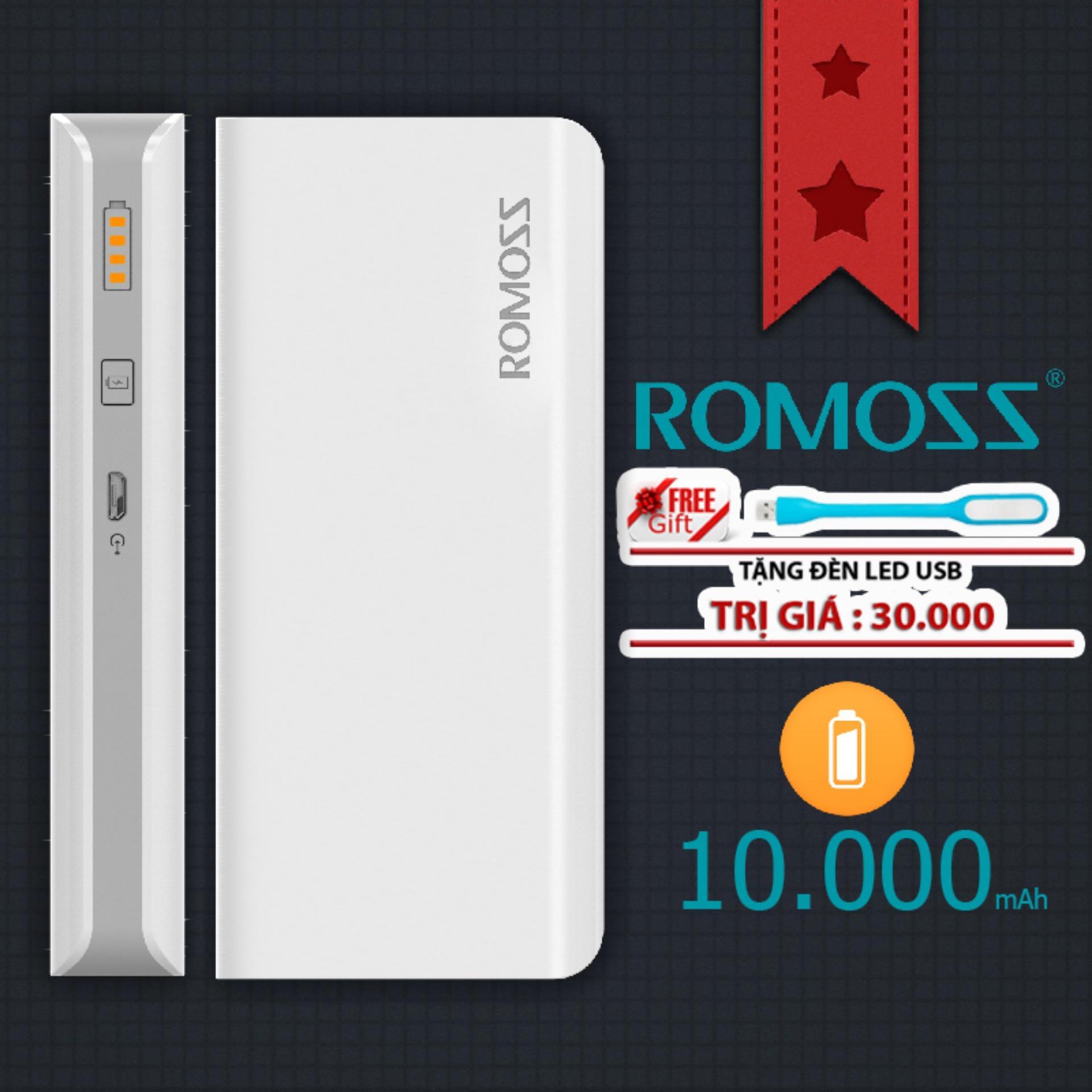 Pin sạc dự phòng 10000mah Romoss GL Solit 5 - Hãng Phân phối chính thức (Màu Trắng) + Tặng đèn LED USB