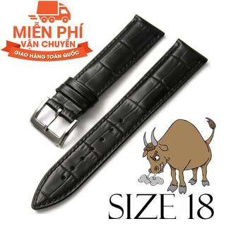 Dây đồng hồ da bò cao cấp BO3 SIZE 18mm (đen) thumbnail