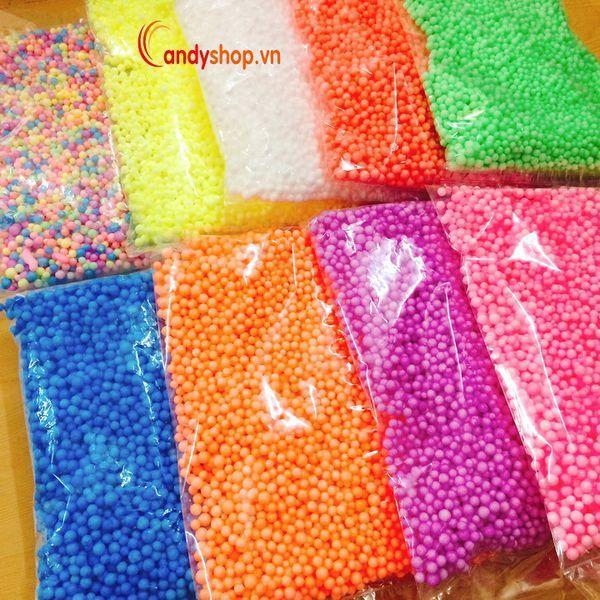 Hạt Xốp Nhỏ Đơn Màu Đóng Gói Túi Zip - Nguyên Liệu Làm Slime Xốp