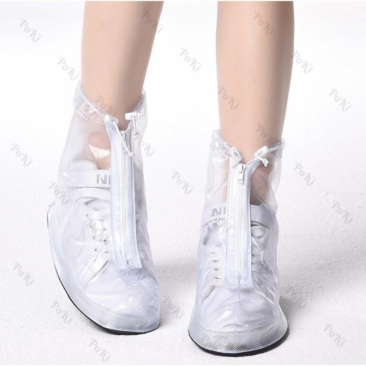 Bọc giày đi mưa thời trang WHITE - Size XXL, chống thấm nước 100%, chất liệu cao cấp - POKI
