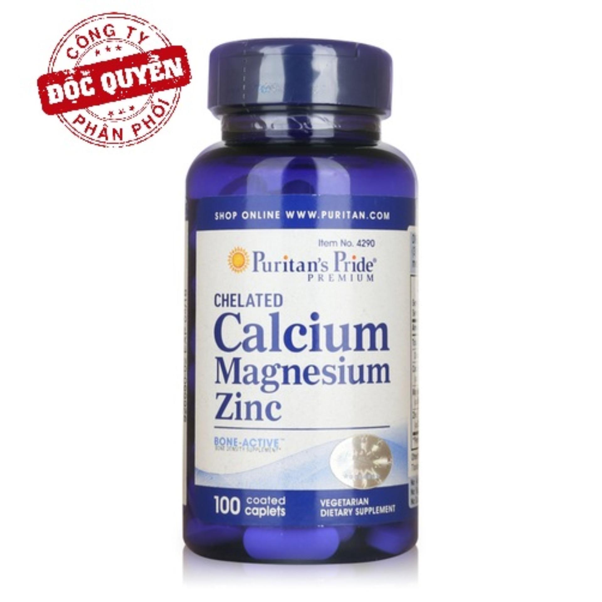 Viên uống cải thiện chiều cao, hỗ trợ xương Puritan's Pride Chelated Calcium, Magnesium & Zinc 100 viên HSD tháng 1/2020