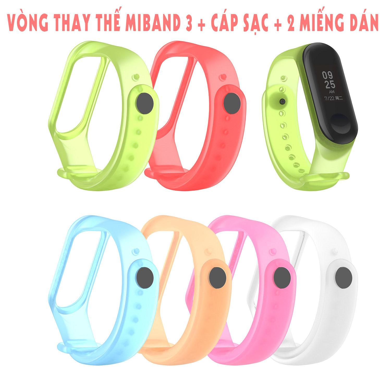 Vòng thay thế Xiaomi Miband 3 Trong Suốt + 2 miếng dán + cáp sạc