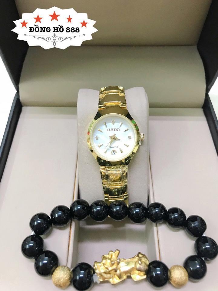 Đồng hồ Nữ RD dây thép TẶNG 1 vòng  may mắn (dây vàng mặt trắng có  lịch) Nhật Bản