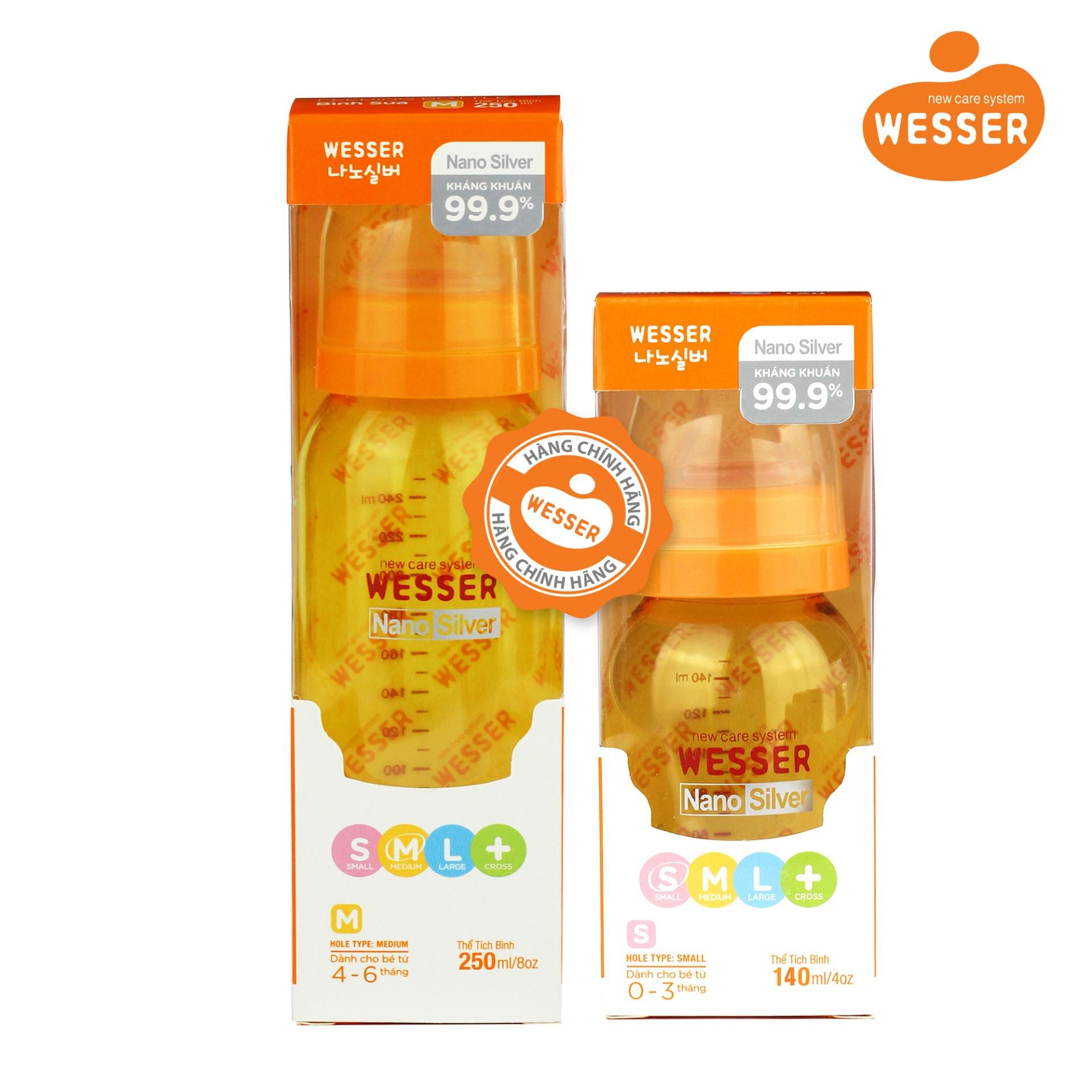 Bộ 2 bình sữa Wesser Nano Silver cổ hẹp 140ml...