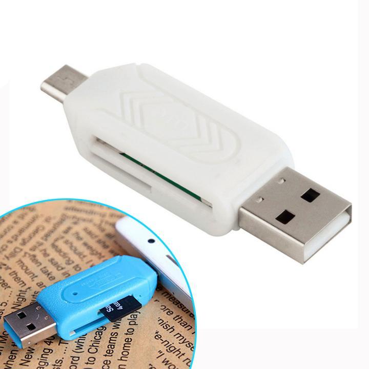 Đầu Đọc Thẻ Nhớ TF SD OTG 2 Trong 1 Đầu Cắm Kép USB màu trắng