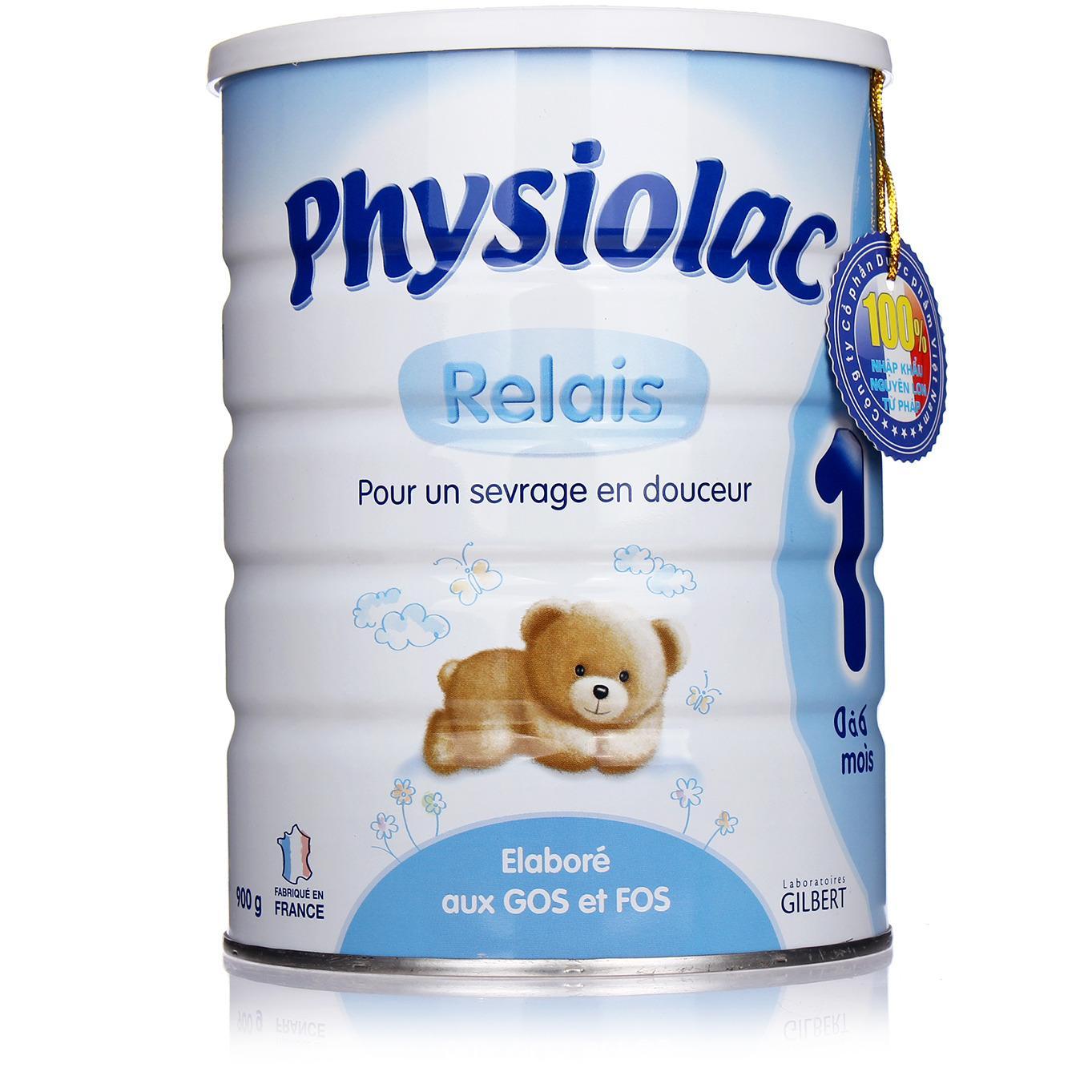 Sữa Physiolac Relais số 1 900g (dành cho trẻ từ 0 - 6 tháng) (hộp thiếc)