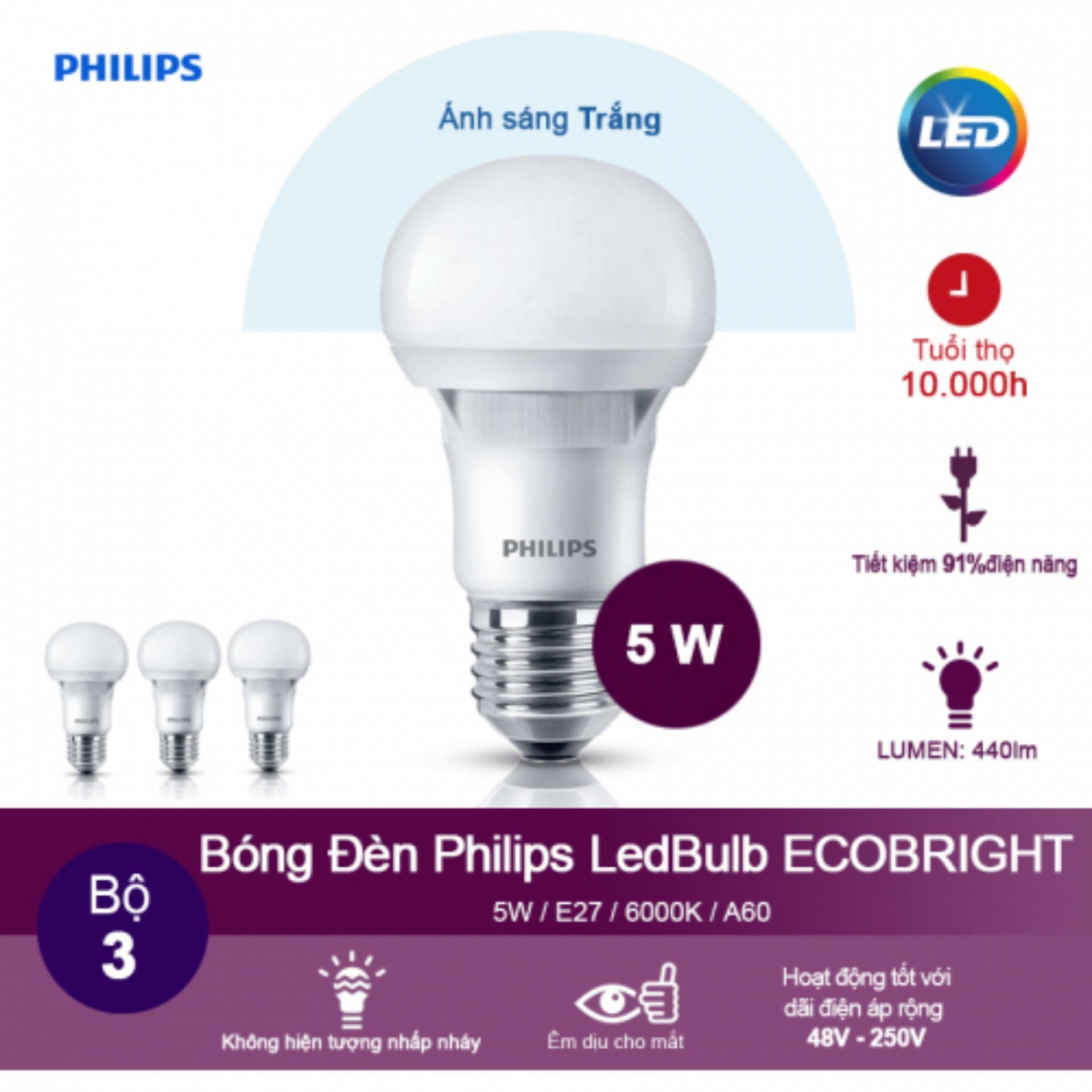 Bộ 3 bóng đèn Philips Ecobright LEDBulb 5-60W E27 6500K A60 (Ánh sáng trắng)