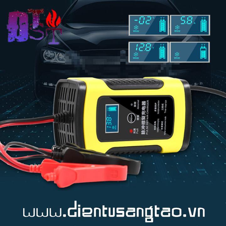 Sạc acquy 12V2A-90AH tích hợp khử sunfat hiển thị LCD