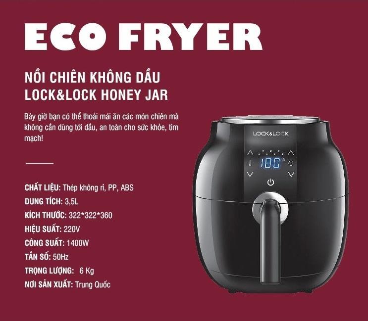Nồi chiên không dầu Lock&Lock Honey Jar EJF341BLK 3.5L Màu Đen